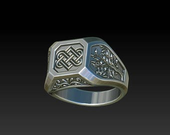 Signet ring Mens ring mens signet ring Mens Wedding ring Mens jewelry Celtic ring celtic jewelry Love knot Tree of life ring engagement RS12