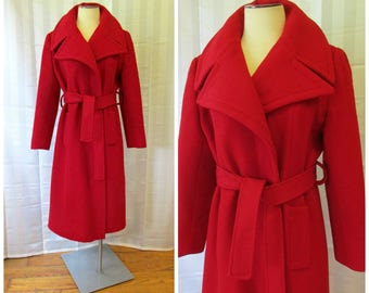 Vintage 1950s 1960s Cashmere Wrap Coat by 100% Cashmere with Tie Belt Red L XL Extra Large Wide Notch Collar