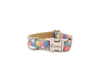 Rose Dog Collar, Personalized Dog Collar, Metal Buckle Collar in Floral Print, Gold Nylon Webbing