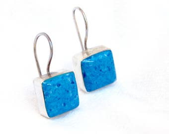 Square Lapis Dangle Earrings Vintage Sterling Silver Blue Stone Dangles Mexican Jewelry Everyday Drops