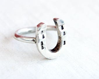 Horseshoe Ring Size 7 .75 Vintage Sterling Silver Lucky Charm Southwestern Jewelry Cowbow Cowgirl