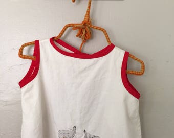 Vintage KIDS Apron // Children's Smock // Embroidered BIB  // Red White Elephant //  Childrenswear Size 12