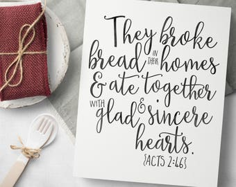 Farmhouse Dining Room Wall Decor - Rustic Bible Verse Sign - Acts 2 46 Signs - Farmhouse Scripture Signs - Dining Room Decor - Bible Verses