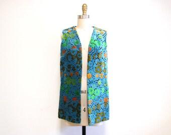 Vintage 1960s Vest   PIled Velvet Floral 1960s 70s Boho Vest