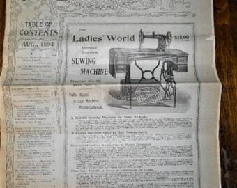 1894 Victorian Ladies World Newspaper Magazine Advertisements Fashion Domestics