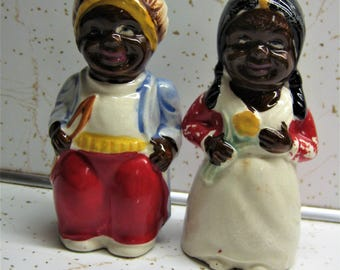 Vintage Native American Indian Boy and Girl Salt And Pepper Shakers