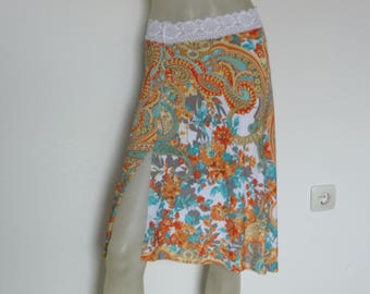 SALE Skirt with Slit Argentine Tango & Salsa Skirt  US 4 and 6 Milonga Dance Wear Paisley Print Tango Jupe adorable Robe