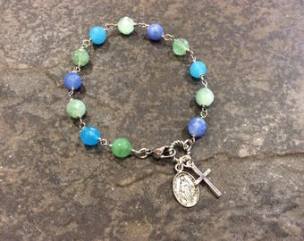 CLEARANCE Beaded Gemstone Rosary bracelet with Miraculous Medal and cross charms Religious Bracelet Christian jewelry FREE SHIPPING