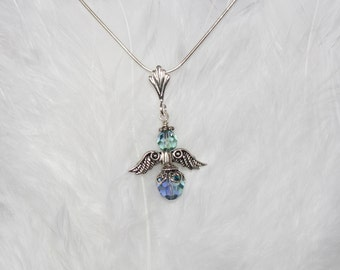 Swarovski 2-Toned Crystal Angel Necklace