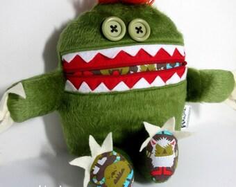 Mini Cuddle Monster pillow, Avocado Green monsters, Green Plush Monster, pajama eater pillow, bedtime buddy, little monster, nightmare eater