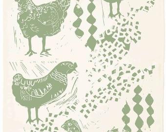 Chicken Organic Kitchen Towel - Sage Green