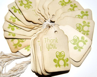 35 frog Baby Shower thank you Favor Gift Tags. hand Stamped. Vintage Inspired. small. REDAY TO SHIP