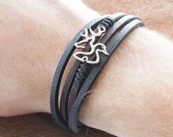 Leather Strand Wrap Bracelet, Buck and Duck, Deer Bracelet, By Namecoins