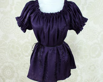 Steampunk Renaissance Cora Chemise in Dark Purple Crinkled Shimmer Satin -- Custom Made in Your Size