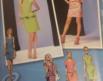 Simplicity 1650 Sewing Pattern Peplum Dress Length and Sleeve Variations Project Runway sz. 4-6-8-10-12 Uncut Factory Folded