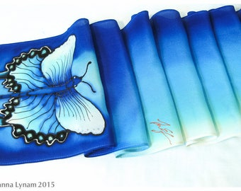 "Silk Scarf. Swallowtail Butterfly scarf. 8.5"" x 52"". Butterfly Silk Scarf. Painted silk scarves. Hand painted silk scarf. Painted silk scarf"