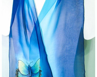 """Hand painted silk scarves. 10x58"""". Butterfly Silk Scarf~Silk scarf hand-painted~Painted silk scarf~Turquoise Silk Scarf~Painted silk scarves"""