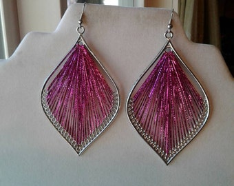 Metallic Hot Pink and Silver Leaf Sexy Thread Earrings Boho, Native, Southwestern, Ornament Peruvian Style Great Gift Ready to ship