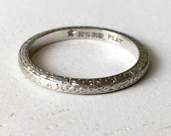 Fine Detail Carved Platinum Wedding Band - Size 4.5