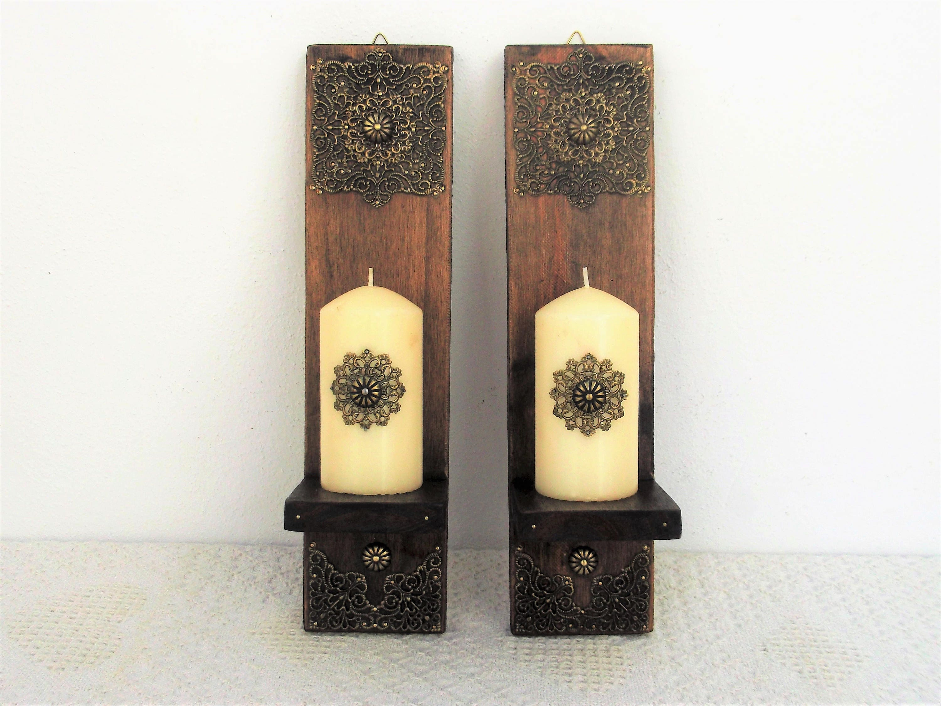 Candle Sconces Rustic Wooden Moroccan Decor Pair of Wood Wall