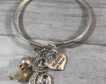 Matron of Honor Gift. BRIDESMAID Gift, Rehearsal Dinner Gift, Bangle Bracelet, INITIAL Bracelet. Champagne. thank you standing by my side