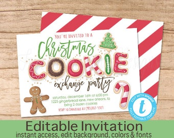 Christmas Cookie Exchange Invitation, Editable Christmas Party template, Cookie exchange, gingerbread, Christmas Invite, Instant Download