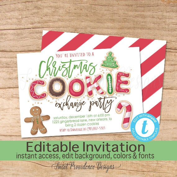 Christmas Cookie Exchange Invitation Editable Christmas Party