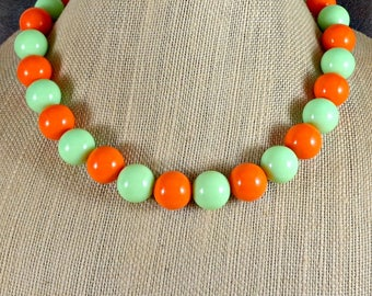 Statement Necklace, Gumball Necklace, Chunky Necklace, Green, Orange, Beaded Necklace, Round Bead Necklace, Big Bead Necklace