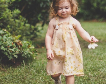 Peach Daisy Halter Strap Dress, Toddler Dress, Pillowcase Dress, Vintage