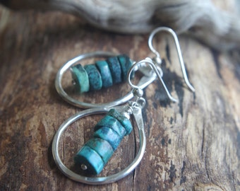 Fine Silver teardrop earrings - Turquoise earrings - Hand forged Silver dangles