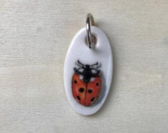 Lady Bug Porcelain Pendant