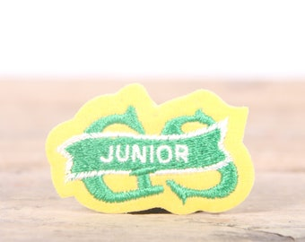 "Vintage Girl Scout Patch / 1970's-80's Scout Patch / Green Yellow Junior Patch / Old Stock Scout Patch / 1.5"" Girl Scouts Patch /Scout Badge"