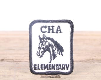Vintage School Patch / 1970s-80s Elementary School Patch / CHA Horse Patch / Girl Scout Patch / Boy Scout Patch / Grunge Patch