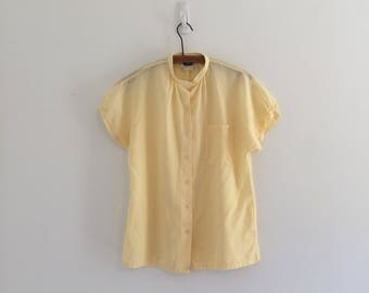 Vintage 70's Yellow Swiss Dot Camp Shirt Blouse S M