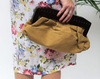 1960s Beige Canvas and Wood Clutch Bag