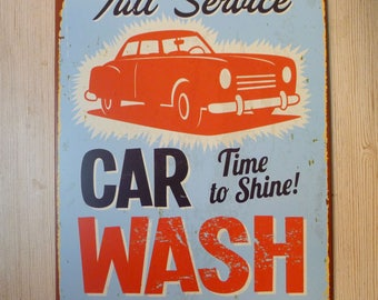 Vintage Style Car Wash Tin Sign, Metal Sign Advertisement, Auto Service Sign, Car Service Sign Display, Reproduction Metal Signs, Retro Tin
