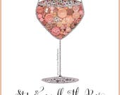 Rosé Wine Decoration | Kitchen Decor | Button Art PRINT | Rhinestone Wine Glass | Swarovski | Wine Button Art | Rose Wine Paintings
