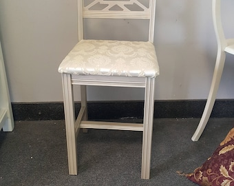 Vintage Metallic vanity chair, shabby chic glam, PICK UP ONLY, accent, side, vintage fabric, bedroom france, french county, soft gold