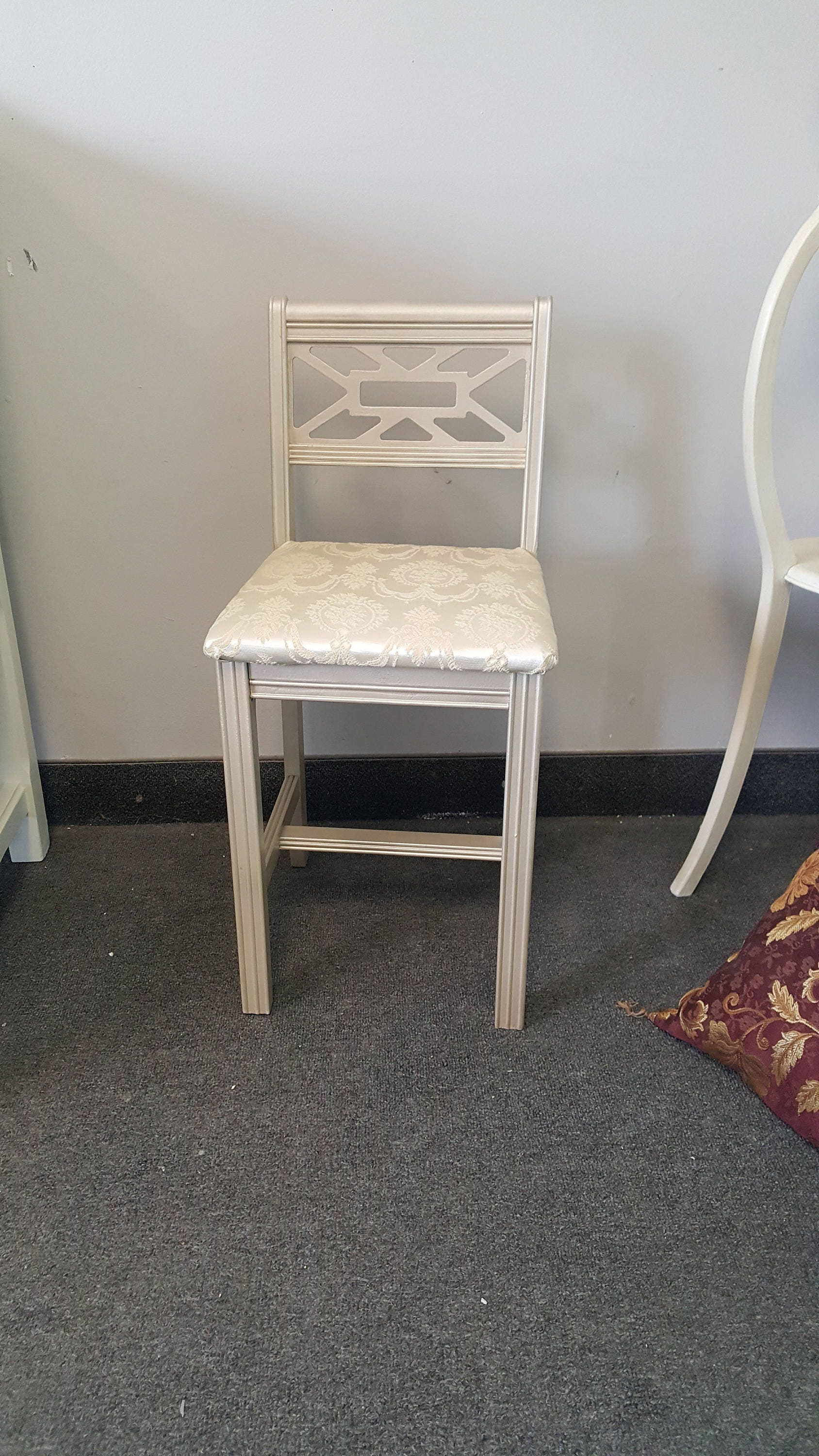 PICK UP ONLY Vintage Metallic vanity chair shabby chic glam
