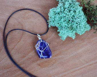 Sodalite Necklace, Mens Stone Necklace, Christmas Gift, Crystal Necklace, Cord and Stone, Navy Blue Stone Necklace, Sodalite Jewelry, Unisex