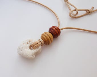 Raw White Coral Nceklace with Wood Beads. Holey Coral Stone Sea Necklace. Natural White Coral. Long Cord Gypsy Necklace. Israel Eco Jewely