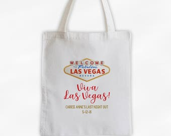 Viva Las Vegas Bachelorette Party Cotton Canvas Tote Bag - Personalized Girl's Weekend Travel Bag in Gold and Red (3034)