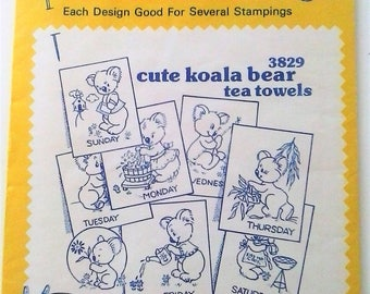 Aunt Martha's Hot Iron Transfers - 3829 Cute Koala Bears Days of the Week Transfers - LIKE NEW! Unused in sealed packaging.