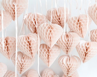 Paper heart honeycomb / Valentines decoration / custom color / hanging party decorations / birthday decor / baby bridal shower / paper heart
