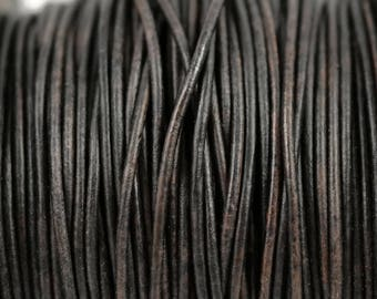 1.5mm Natural Dark Brown Leather Cord Round - Distressed Matte Finish