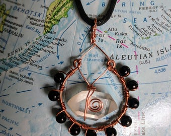 Quartz Crystal and Black Jasper Pendant