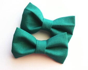 Teal hair bows -set of two--green modern pigtail hair clip for baby toddlergirls