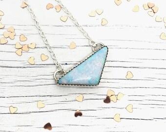 Opal Necklace, Opal Triangle Necklace