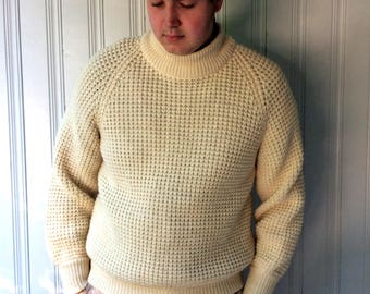 vintage Fisherman Sweater Cream Virgin Wool handcrafted in Canada waffle knit  Crew Turtleneck Chunky Wool size M or L Irish Sweater
