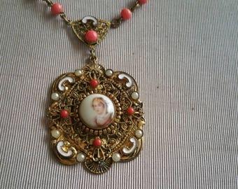 Vintage Art Deco Czech Filigree Painted Porcelain Enameled Necklace
